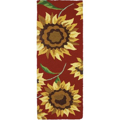 Hlavacek Provence Sunflowers Hand-Hooked Rust Indoor/Outdoor Area Rug Rug Size: Runner 19 x 46