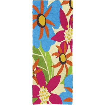 Jansen Piccadilly Floral Hand-Hooked Raspberry Indoor/Outdoor Area Rug Rug Size: Runner 19 x 46