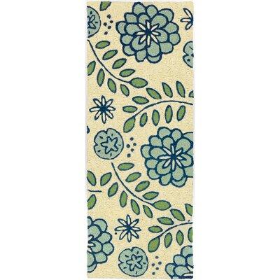 Janke Marigolds Hand-Hooked Cream Indoor/Outdoor Area Rug Rug Size: Runner 19 x 46