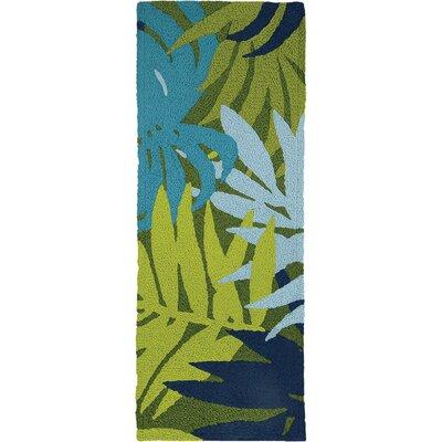 Inman Palms Hand-Hooked Blue Indoor/Outdoor Area Rug Rug Size: Runner 19 x 46