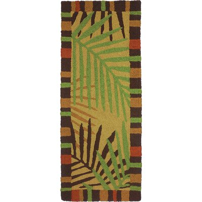 Ruthwell Tropical Leaves Hand-Hooked Brown Indoor/Outdoor Area Rug Rug Size: Runner 19 x 46