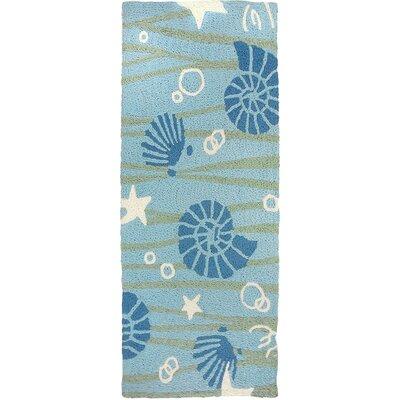 Calliope La Mer Hand-Hooked Sky Blue Indoor/Outdoor Area Rug Rug Size: Runner 19 x 46