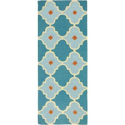 Camillei Mediterranean Tile Hand-Hooked Blue Indoor/Outdoor Area Rug Rug Size: Runner 19 x 46
