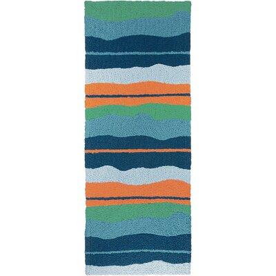Carlito Calypso Stripe Hand-Hooked Blue Indoor/Outdoor Area Rug Rug Size: Runner 19 x 46