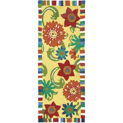 Ishee Fun Flowers Hand-Hooked Yellow Indoor/Outdoor Area Rug Rug Size: Runner 19 x 46