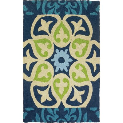 Bessin Barcelona Tile Hand-Hooked Blue Indoor/Outdoor Area Rug Rug Size: Rectangle 410 x 66