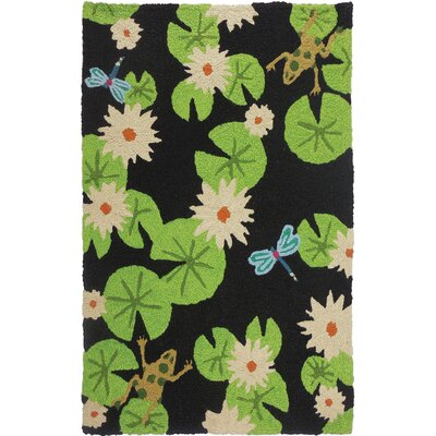 Ismail Lily Pad and Frogs Hand-Hooked Black Indoor/Outdoor Area Rug Rug Size: Rectangle 410 x 66