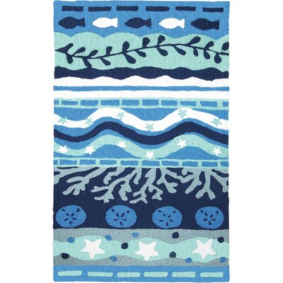 Bemelle Bay Hand-Hooked Navy Blue Indoor/Outdoor Area Rug Rug Size: Rectangle 210 x 46