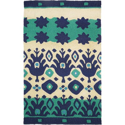 Vine Ikat Hand-Hooked Blue/Green Indoor/Outdoor Area Rug Rug Size: Rectangle 410 x 66