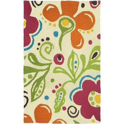 Jair Fab Floral Hand-Hooked Cream Indoor/Outdoor Area Rug Rug Size: Rectangle 410 x 66