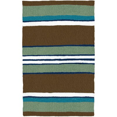 Caterina Woodbine Hand-Hooked Brown Indoor/Outdoor Area Rug Rug Size: Rectangle 210 x 46