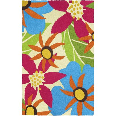 Jansen Piccadilly Floral Hand-Hooked Raspberry Indoor/Outdoor Area Rug Rug Size: Rectangle 410 x 66