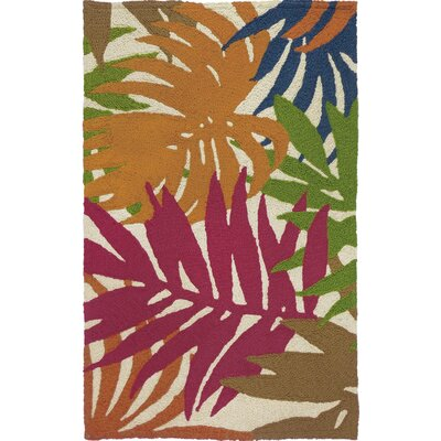 Waldport Colorful Palms Hand-Hooked Tan Indoor/Outdoor Area Rug Rug Size: Rectangle 210 x 46