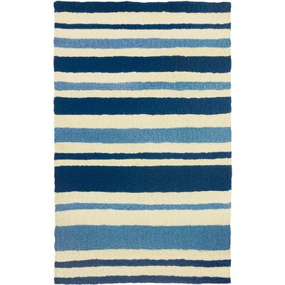 Candide Nautical Stripe Hand-Hooked Blue Indoor/Outdoor Area Rug Rug Size: Rectangle 210 x 46