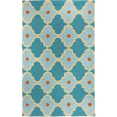 Camillei Mediterranean Tile Hand-Hooked Blue Indoor/Outdoor Area Rug Rug Size: Rectangle 410 x 66
