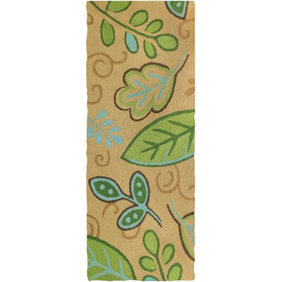 Jamil Leaves Hand-Hooked Tan/Green Indoor/Outdoor Area Rug Rug Size: Runner 19 x 46