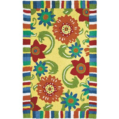 Ishee Fun Flowers Hand-Hooked Yellow Indoor/Outdoor Area Rug Rug Size: Rectangle 210 x 46