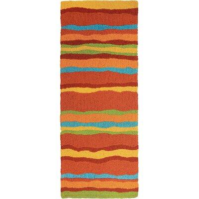 Jakes Fiesta Stripes Hand-Hooked Rust Indoor/Outdoor Area Rug Rug Size: Runner 19 x 46