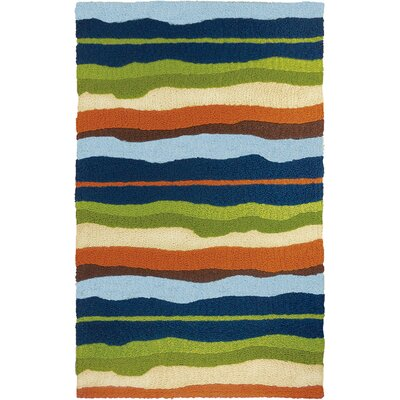 Caine Capri Stripe Hand-Hooked Green Indoor/Outdoor Area Rug Rug Size: Rectangle 210 x 46