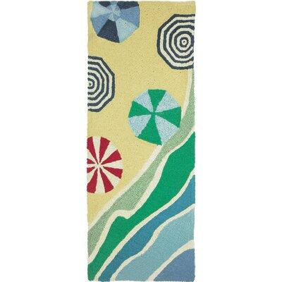 Burkhart Beachside Umbrellas Hand-Hooked Yellow Indoor/Outdoor Area Rug Rug Size: Runner 19 x 46