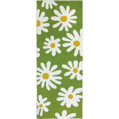 Edlefsen Daisy Canvas Hand-Hooked Green Indoor/Outdoor Area Rug Rug Size: Runner 19 x 46