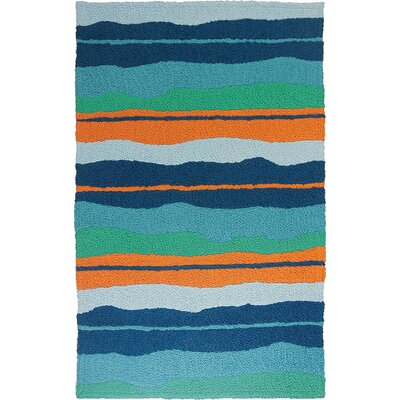 Carlito Calypso Stripe Hand-Hooked Blue Indoor/Outdoor Area Rug Rug Size: Rectangle 410 x 66