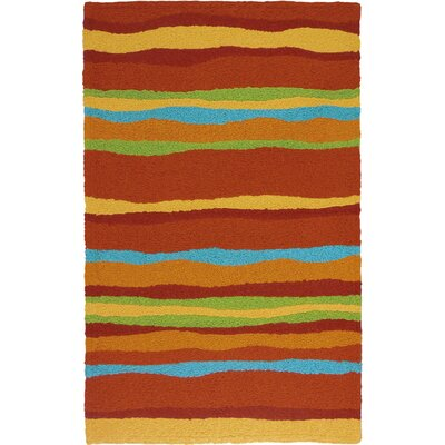 Jakes Fiesta Stripes Hand-Hooked Rust Indoor/Outdoor Area Rug Rug Size: Rectangle 410 x 66