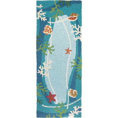 Carlino Underwater Coral and Starfish Hand-Hooked Blue Indoor/Outdoor Area Rug Rug Size: Runner 19 x 46