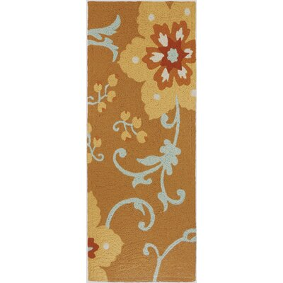 Ivy Hill Winterthur Hand-Hooked Gold Indoor/Outdoor Area Rug Rug Size: Runner 19 x 46