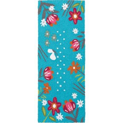 Itchington Wildflower Garden Hand-Hooked Sky Blue Indoor/Outdoor Area Rug Rug Size: Runner 19 x 46