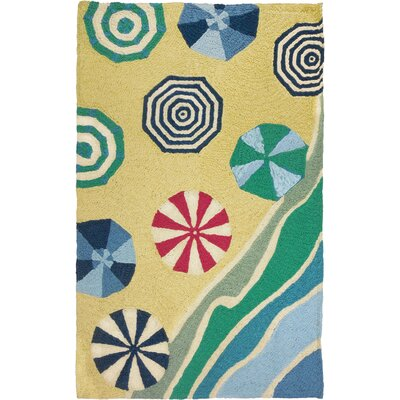 Burkhart Beachside Umbrellas Hand-Hooked Yellow Indoor/Outdoor Area Rug Rug Size: Rectangle 210 x 46