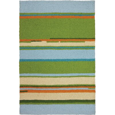 Carbone Patio Stripes Hand-Hooked Green Indoor/Outdoor Area Rug Rug Size: Rectangle 410 x 66