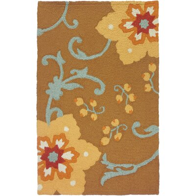 Ivy Hill Winterthur Hand-Hooked Gold Indoor/Outdoor Area Rug Rug Size: Rectangle 210 x 46
