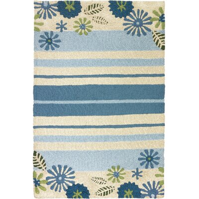 Jaggers Daisies and Stripes Hand-Hooked Green Indoor/Outdoor Area Rug Rug Size: Rectangle 410 x 66