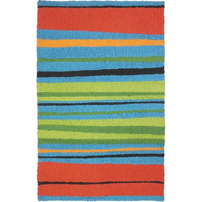Millard Alfresco Stripe Hand-Hooked Blue Indoor/Outdoor Area Rug Rug Size: Rectangle 210 x 46