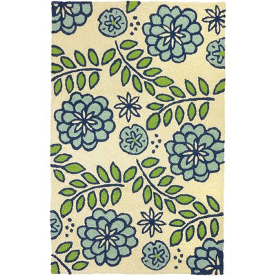 Janke Marigolds Hand-Hooked Cream Indoor/Outdoor Area Rug Rug Size: Rectangle 410 x 66