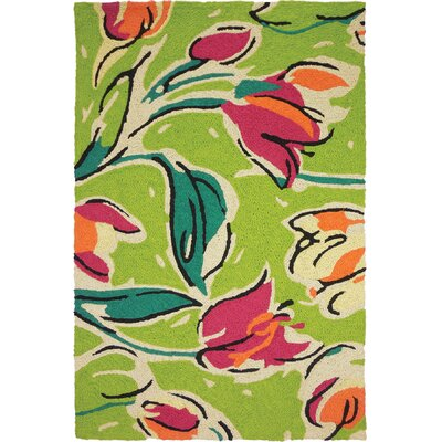Jarman Tulip Ensemble Hand-Hooked Green Indoor/Outdoor Area Rug Rug Size: Rectangle 410 x 66
