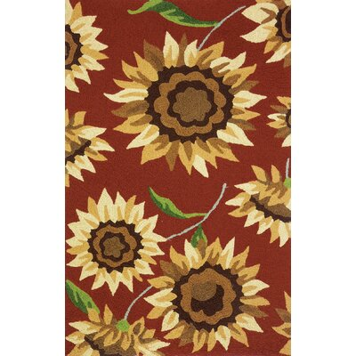 Hlavacek Provence Sunflowers Hand-Hooked Rust Indoor/Outdoor Area Rug Rug Size: Rectangle 410 x 66