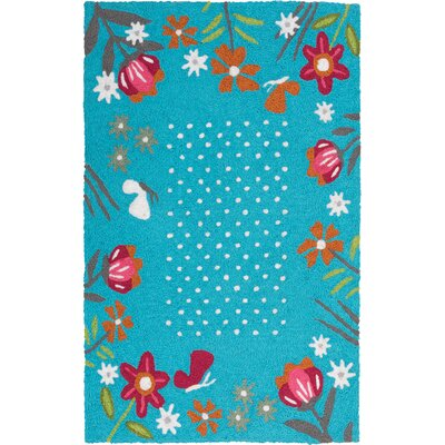Itchington Wildflower Garden Hand-Hooked Sky Blue Indoor/Outdoor Area Rug Rug Size: Rectangle 210 x 46