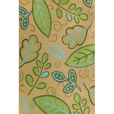 Jamil Leaves Hand-Hooked Tan/Green Indoor/Outdoor Area Rug Rug Size: Rectangle 410 x 66