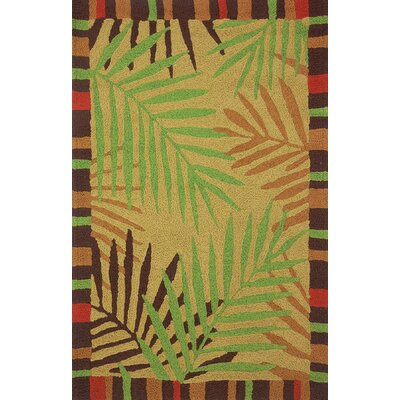 Ruthwell Tropical Leaves Hand-Hooked Brown Indoor/Outdoor Area Rug Rug Size: Rectangle 210 x 46