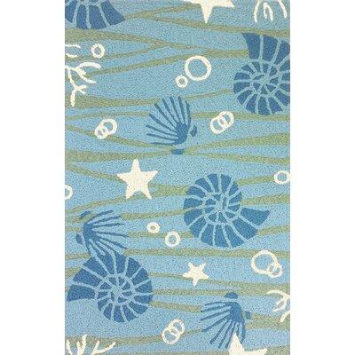Calliope La Mer Hand-Hooked Sky Blue Indoor/Outdoor Area Rug Rug Size: Rectangle 410 x 66