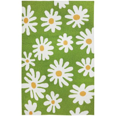 Edlefsen Daisy Canvas Hand-Hooked Green Indoor/Outdoor Area Rug Rug Size: Rectangle 410 x 66