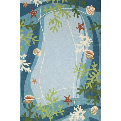 Carlino Underwater Coral and Starfish Hand-Hooked Blue Indoor/Outdoor Area Rug Rug Size: Rectangle 210 x 46