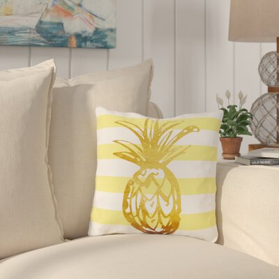 Palomar Stripes Pineapple Outdoor Throw Pillow Size: 18 x 18