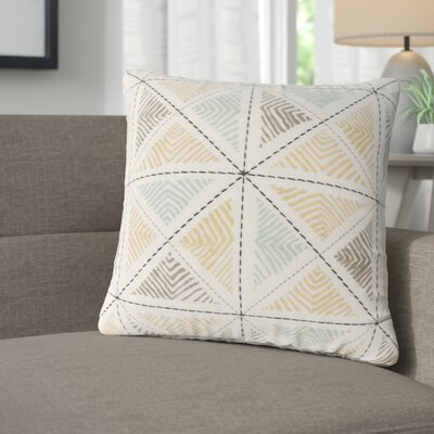 Banach Embroidered Cotton Throw Pillow Color: Blue