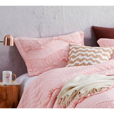 Raybon Ruffles Single Tone Sham Color: Rose Quartz