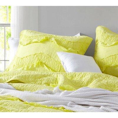 Raybon Ruffles Single Tone Sham Color: Limelight Yellow