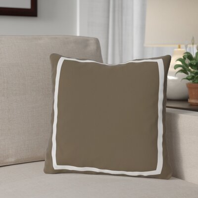 Biller Simple Square Outdoor Throw Pillow Color: Coffee Brown White, Size: 16 x 16