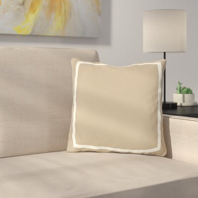 Biller Simple Square Outdoor Throw Pillow Color: Tan White, Size: 18